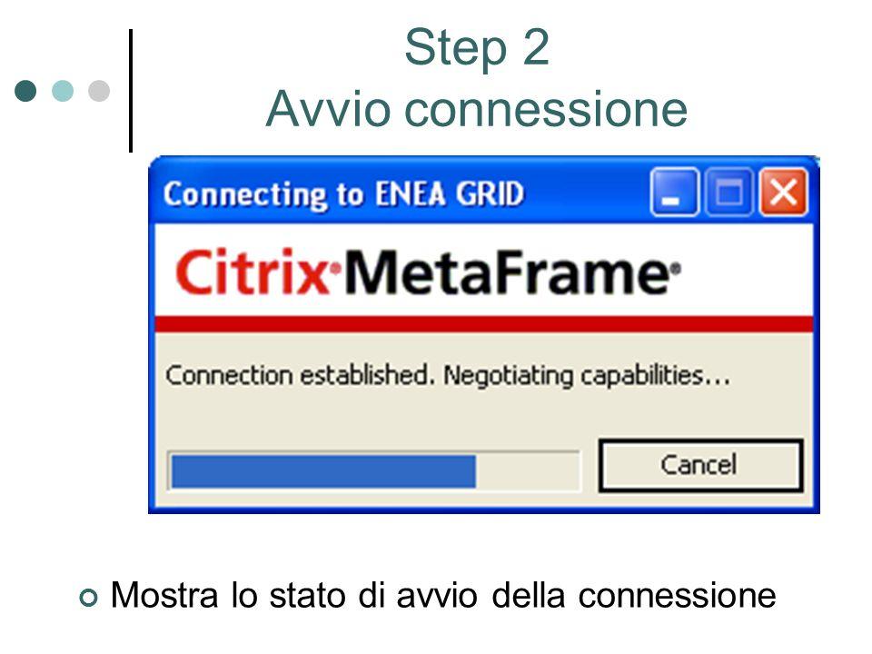 Mostra lo stato di avvio della connessione Step 2 Avvio connessione