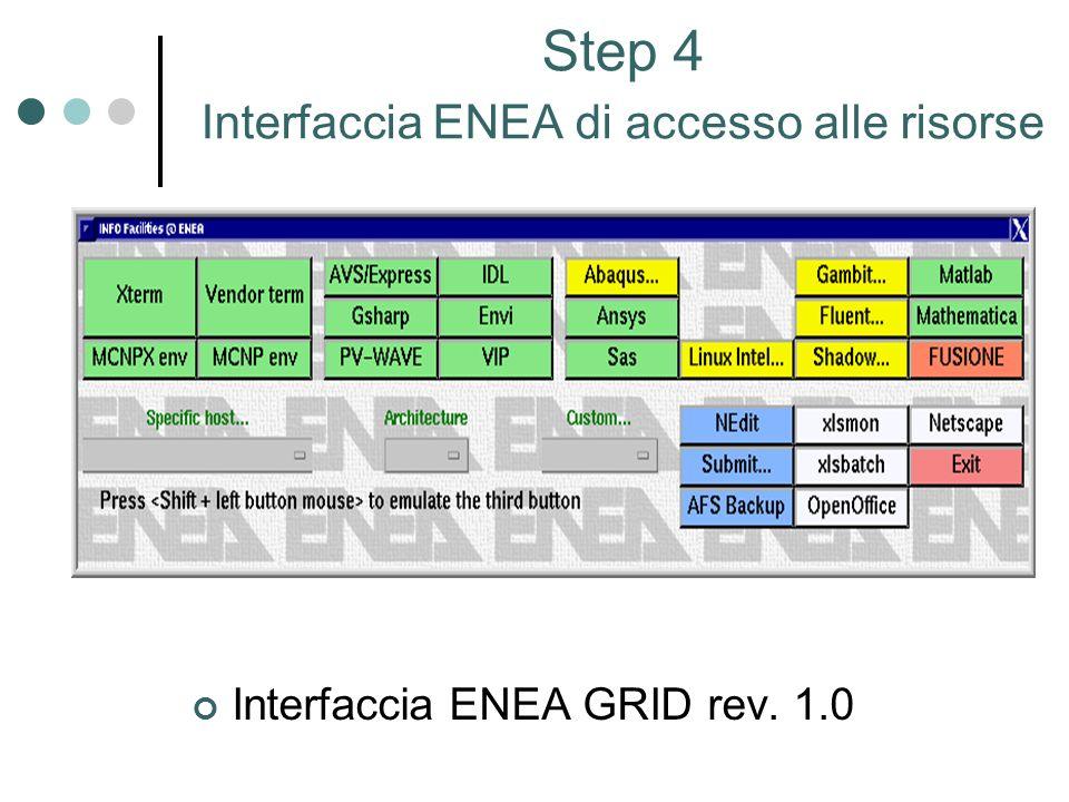 Step 4 Interfaccia ENEA di accesso alle risorse Interfaccia ENEA GRID rev. 1.0