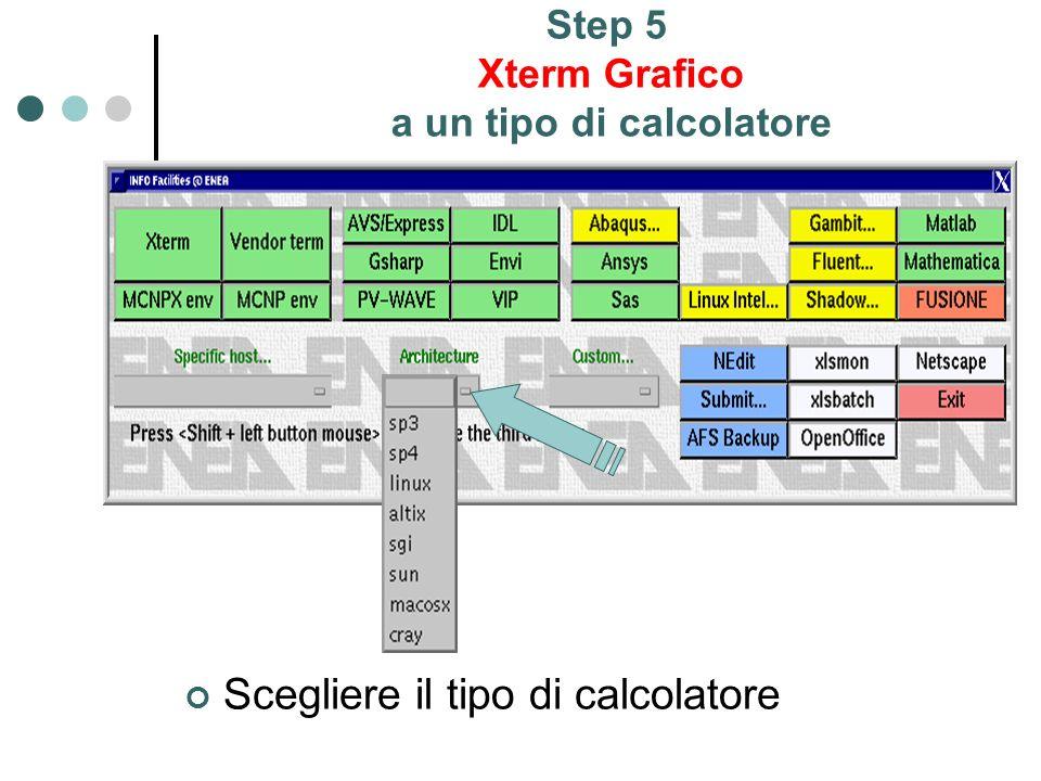 Step 5 Xterm Grafico a un tipo di calcolatore Scegliere il tipo di calcolatore