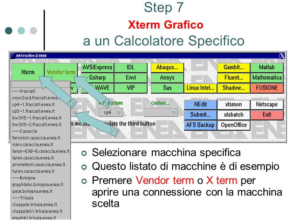 Step 7 Xterm Grafico a un Calcolatore Specifico Selezionare macchina specifica Questo listato di macchine è di esempio Premere Vendor term o X term per aprire una connessione con la macchina scelta
