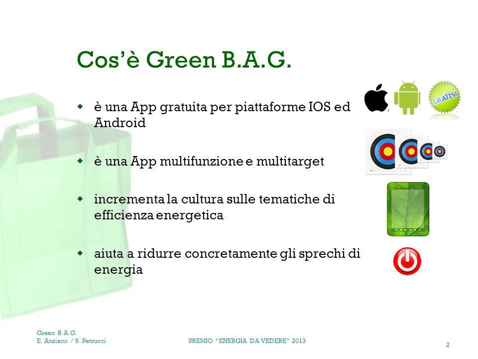 2 Cosè Green B.A.G. è una App gratuita per piattaforme IOS ed Android è una App multifunzione e multitarget incrementa la cultura sulle tematiche di e