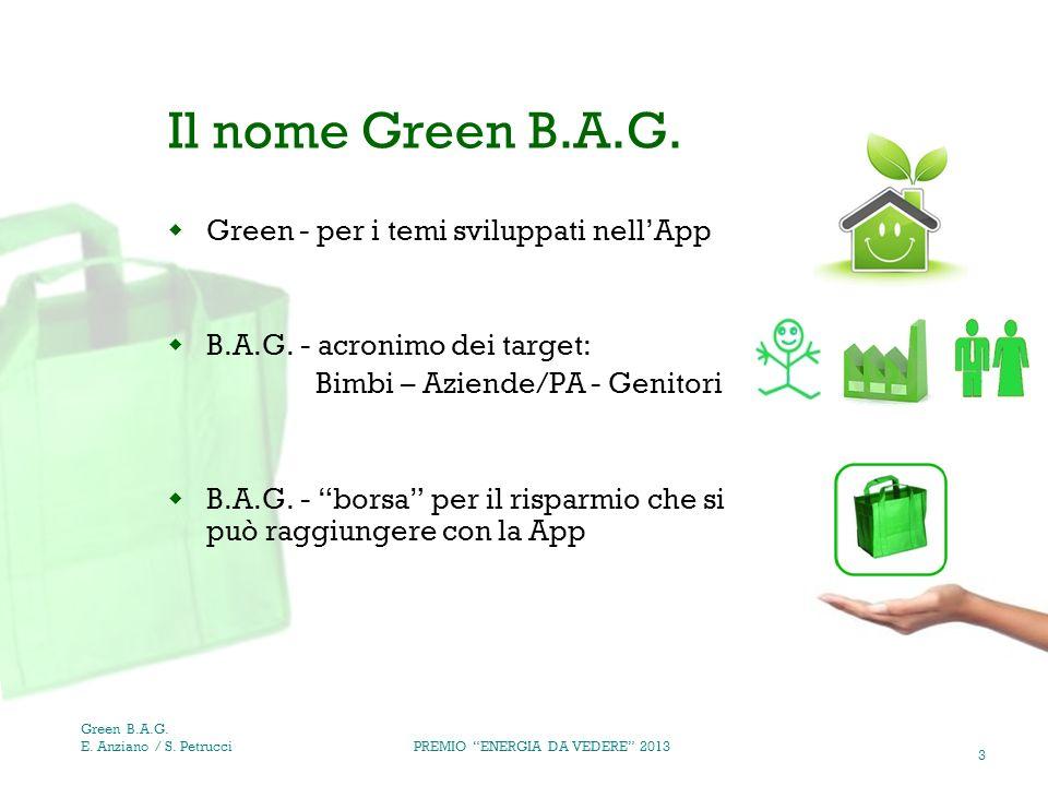 4 Obiettivi & Bisogni PREMIO ENERGIA DA VEDERE 2013 Green B.A.G.