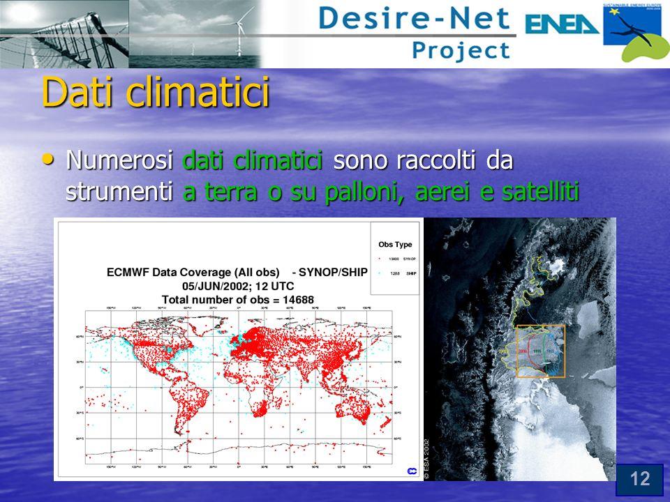 12 Dati climatici Numerosi dati climatici sono raccolti da strumenti a terra o su palloni, aerei e satelliti Numerosi dati climatici sono raccolti da strumenti a terra o su palloni, aerei e satelliti