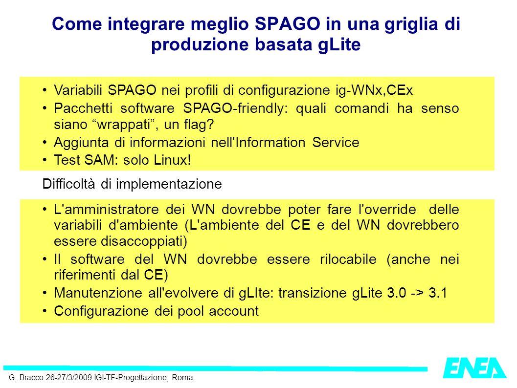 G. Bracco 26-27/3/2009 IGI-TF-Progettazione, Roma Variabili SPAGO nei profili di configurazione ig-WNx,CEx Pacchetti software SPAGO-friendly: quali co