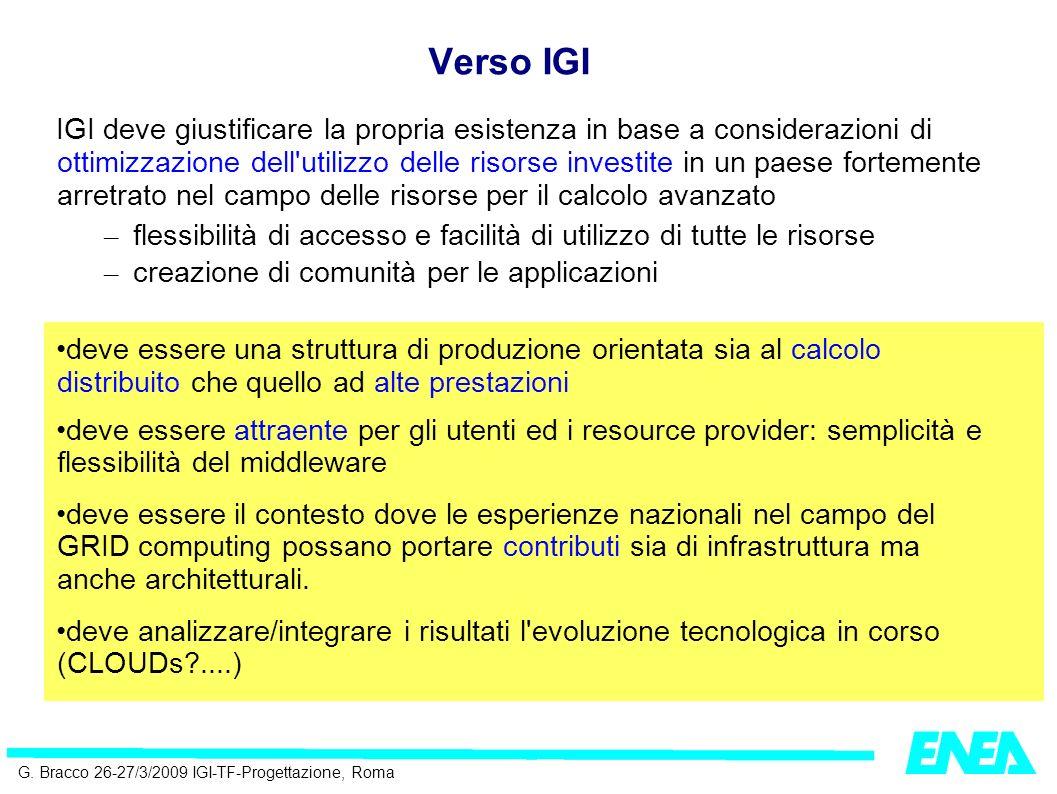 G. Bracco 26-27/3/2009 IGI-TF-Progettazione, Roma IGI deve giustificare la propria esistenza in base a considerazioni di ottimizzazione dell'utilizzo
