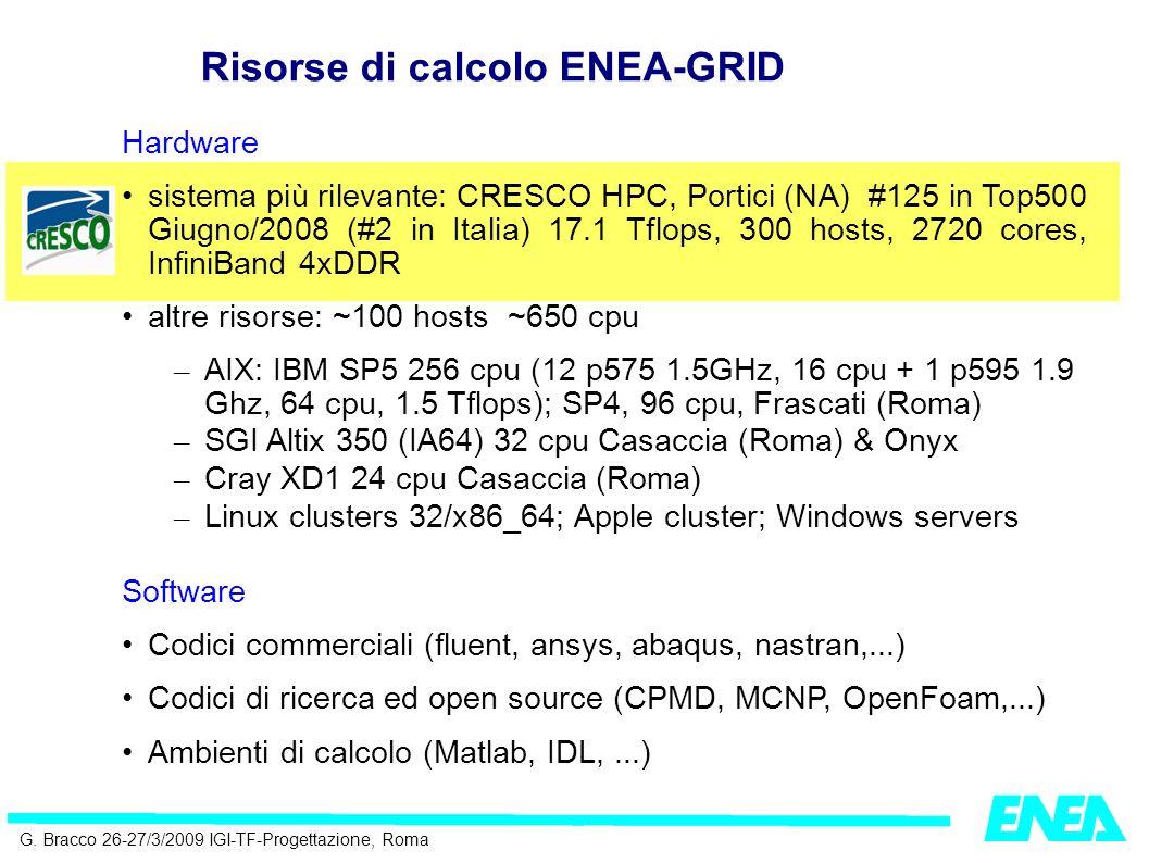 G. Bracco 26-27/3/2009 IGI-TF-Progettazione, Roma Hardware sistema più rilevante: CRESCO HPC, Portici (NA) #125 in Top500 Giugno/2008 (#2 in Italia) 1