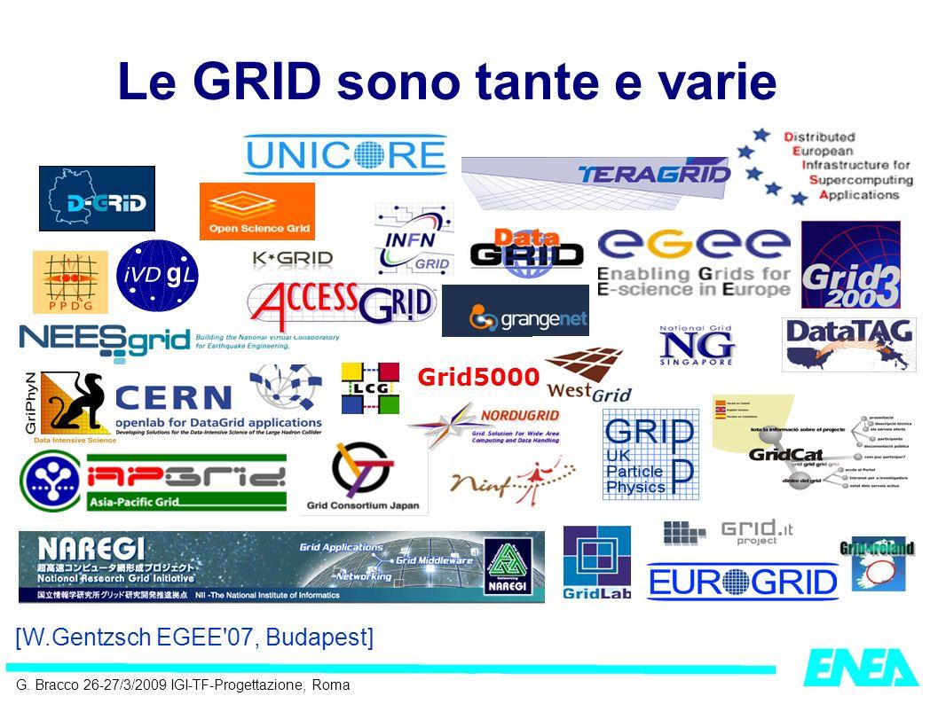 G. Bracco 26-27/3/2009 IGI-TF-Progettazione, Roma Le GRID sono tante e varie Grid5000 [W.Gentzsch EGEE'07, Budapest]