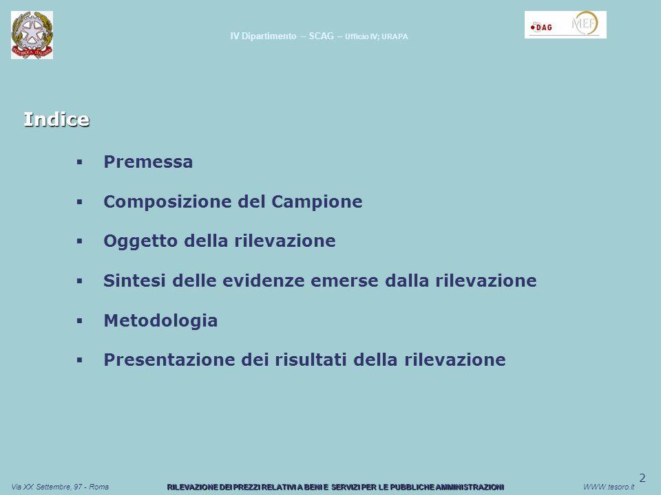 3 Via XX Settembre, 97 - RomaWWW.tesoro.it Premessa Obiettivo della rilevazione: Individuazione dei prezzi medi di approvvigionamento della P.A.