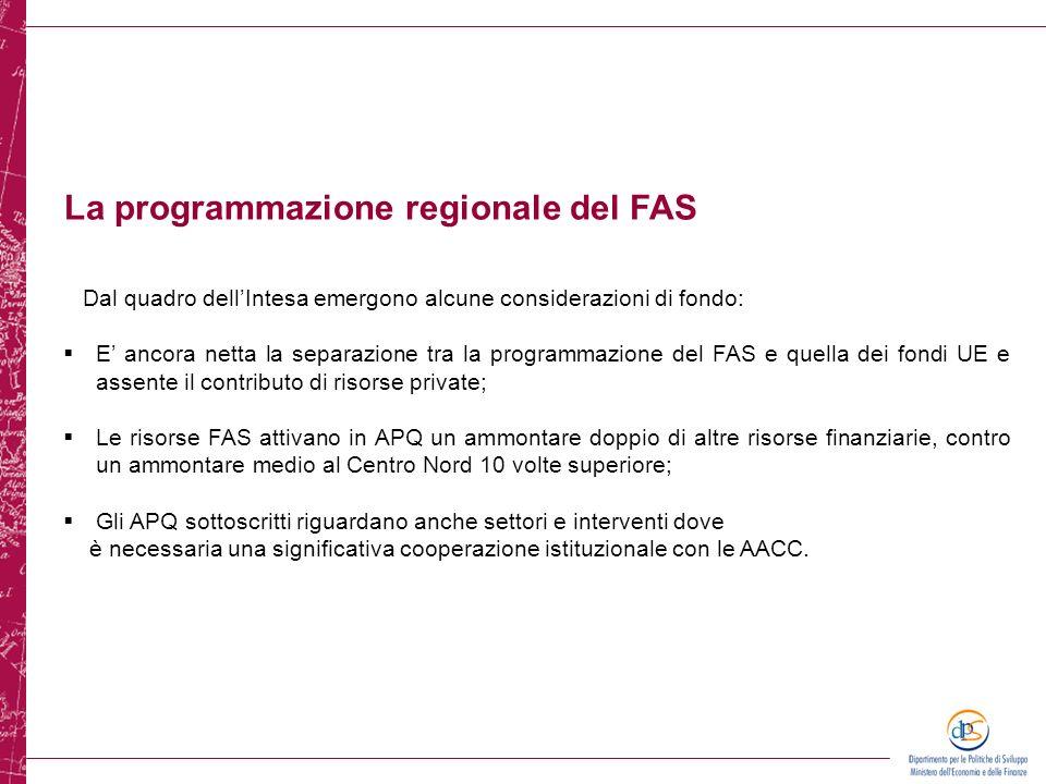 Dal quadro dellIntesa emergono alcune considerazioni di fondo: E ancora netta la separazione tra la programmazione del FAS e quella dei fondi UE e ass