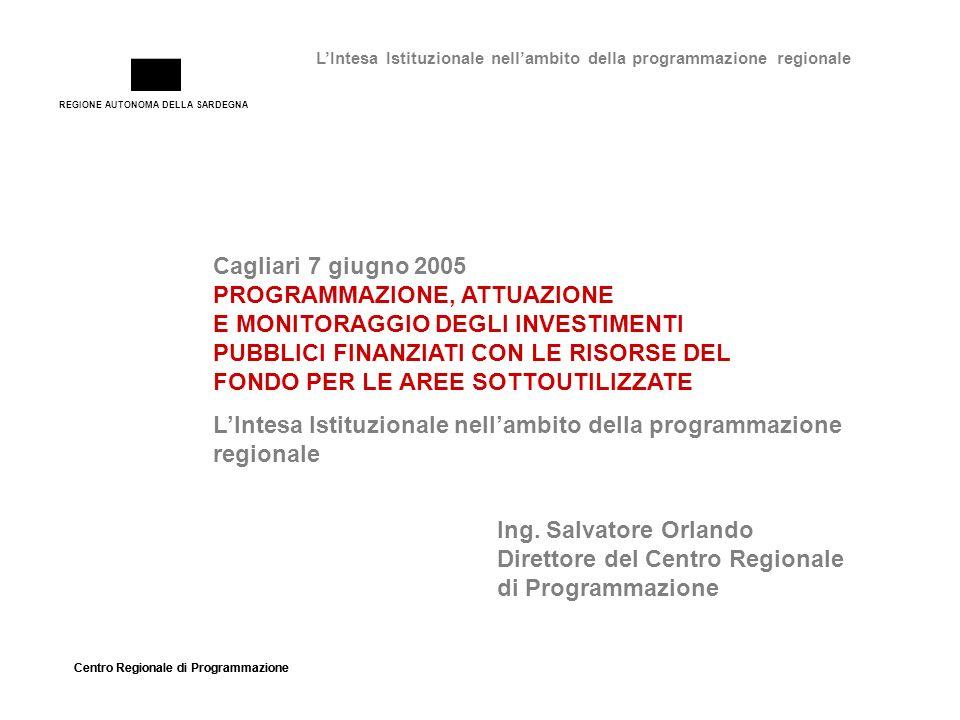 REGIONE AUTONOMA DELLA SARDEGNA Centro Regionale di Programmazione LIntesa Istituzionale nellambito della programmazione regionale Cagliari 7 giugno 2005 PROGRAMMAZIONE, ATTUAZIONE E MONITORAGGIO DEGLI INVESTIMENTI PUBBLICI FINANZIATI CON LE RISORSE DEL FONDO PER LE AREE SOTTOUTILIZZATE Ing.