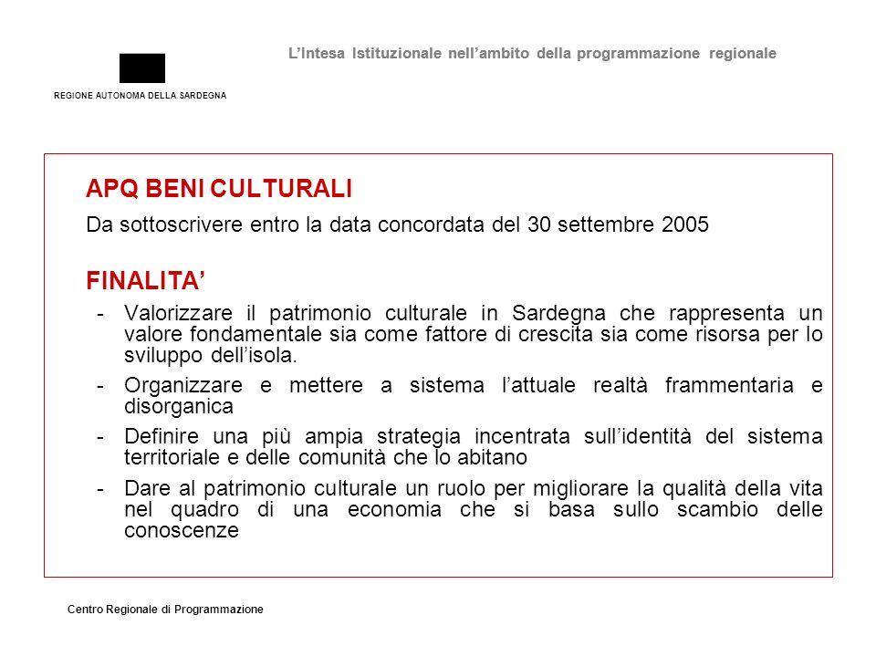 REGIONE AUTONOMA DELLA SARDEGNA Centro Regionale di Programmazione LIntesa Istituzionale nellambito della programmazione regionale APQ BENI CULTURALI Da sottoscrivere entro la data concordata del 30 settembre 2005 FINALITA -Valorizzare il patrimonio culturale in Sardegna che rappresenta un valore fondamentale sia come fattore di crescita sia come risorsa per lo sviluppo dellisola.