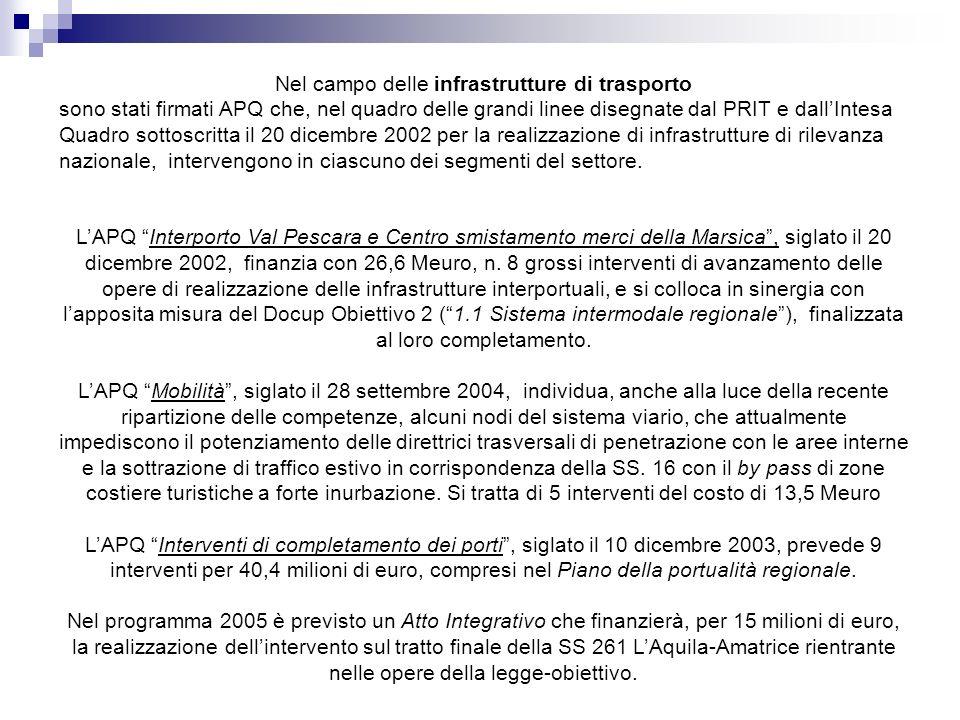 Nel campo delle infrastrutture di trasporto sono stati firmati APQ che, nel quadro delle grandi linee disegnate dal PRIT e dallIntesa Quadro sottoscritta il 20 dicembre 2002 per la realizzazione di infrastrutture di rilevanza nazionale, intervengono in ciascuno dei segmenti del settore.