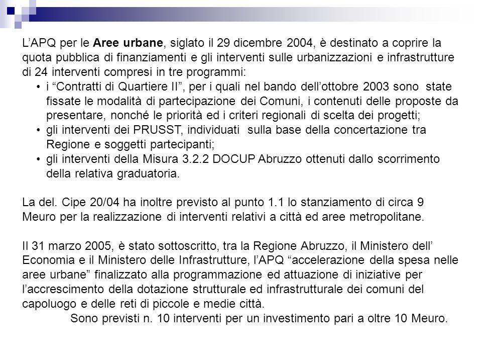 LAPQ per le Aree urbane, siglato il 29 dicembre 2004, è destinato a coprire la quota pubblica di finanziamenti e gli interventi sulle urbanizzazioni e