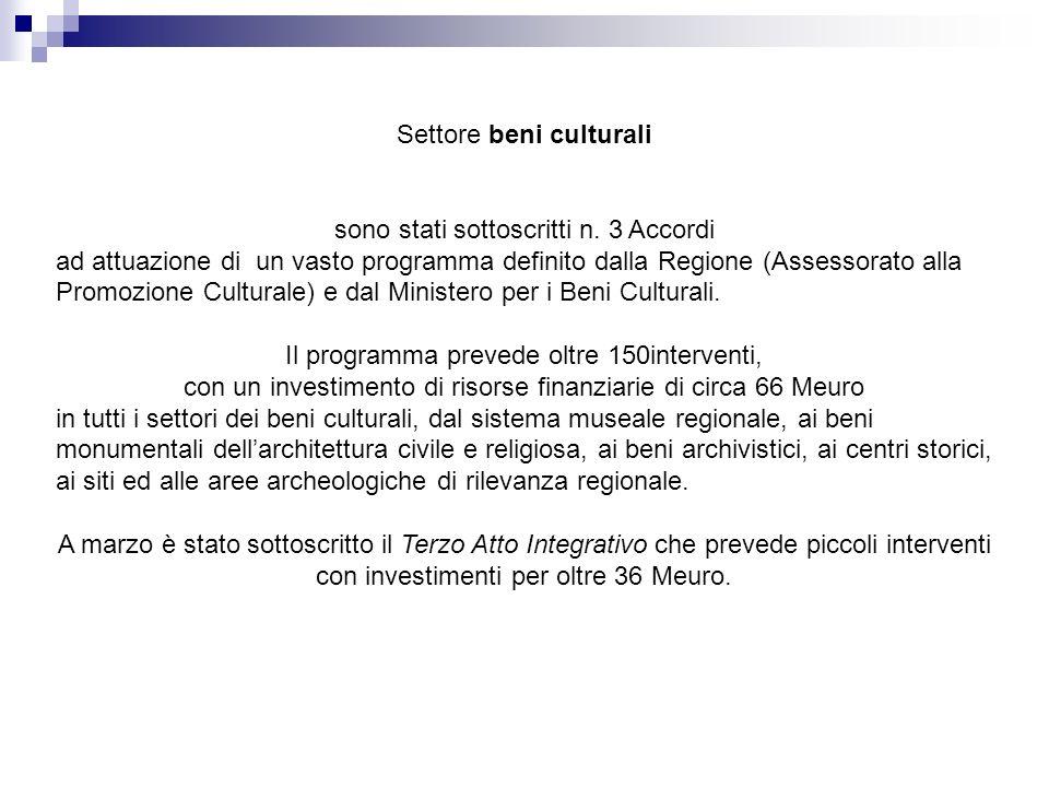 Settore beni culturali sono stati sottoscritti n. 3 Accordi ad attuazione di un vasto programma definito dalla Regione (Assessorato alla Promozione Cu
