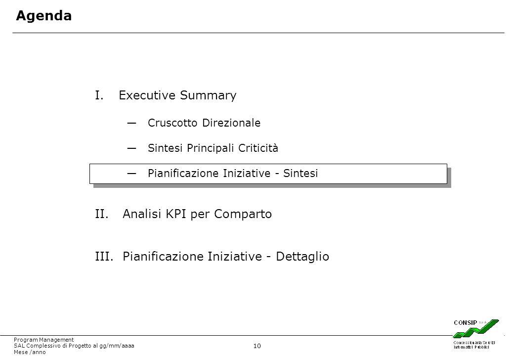 10 Program Management SAL Complessivo di Progetto al gg/mm/aaaa Mese /anno I.Executive Summary Cruscotto Direzionale Sintesi Principali Criticità Pian