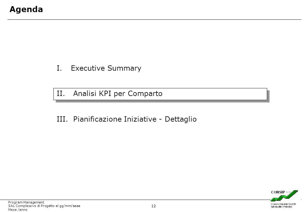 12 Program Management SAL Complessivo di Progetto al gg/mm/aaaa Mese /anno I.Executive Summary II. Analisi KPI per Comparto III. Pianificazione Inizia