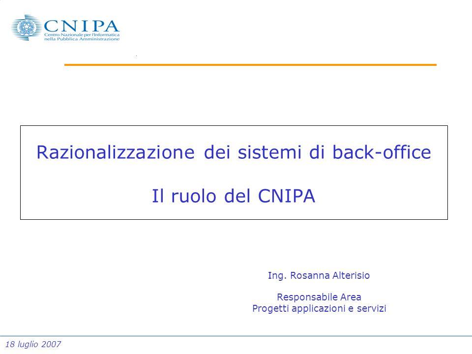 18 luglio 2007 Razionalizzazione dei sistemi di back-office Il ruolo del CNIPA Ing. Rosanna Alterisio Responsabile Area Progetti applicazioni e serviz