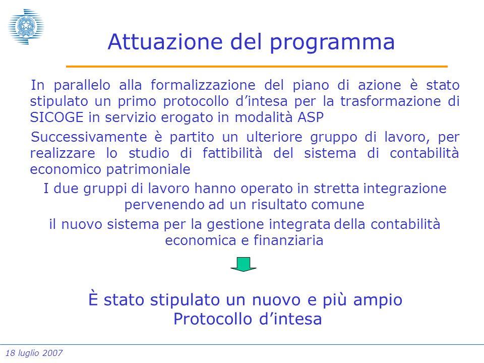 18 luglio 2007 Attuazione del programma In parallelo alla formalizzazione del piano di azione è stato stipulato un primo protocollo dintesa per la tra