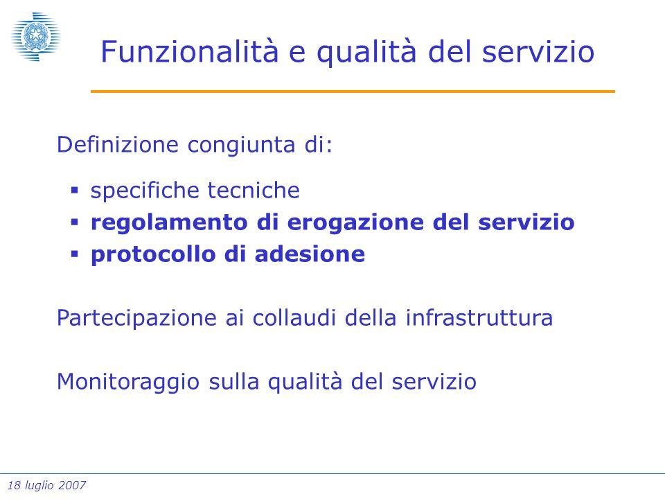 18 luglio 2007 Funzionalità e qualità del servizio Definizione congiunta di: specifiche tecniche regolamento di erogazione del servizio protocollo di