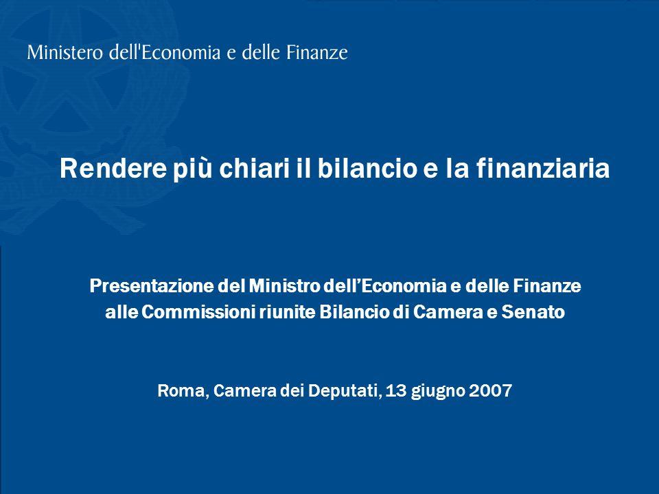 T. Padoa-Schioppa, La riclassificazione del bilancio, Camera dei Deputati, 13 giugno 2007 1 Rendere più chiari il bilancio e la finanziaria Presentazi