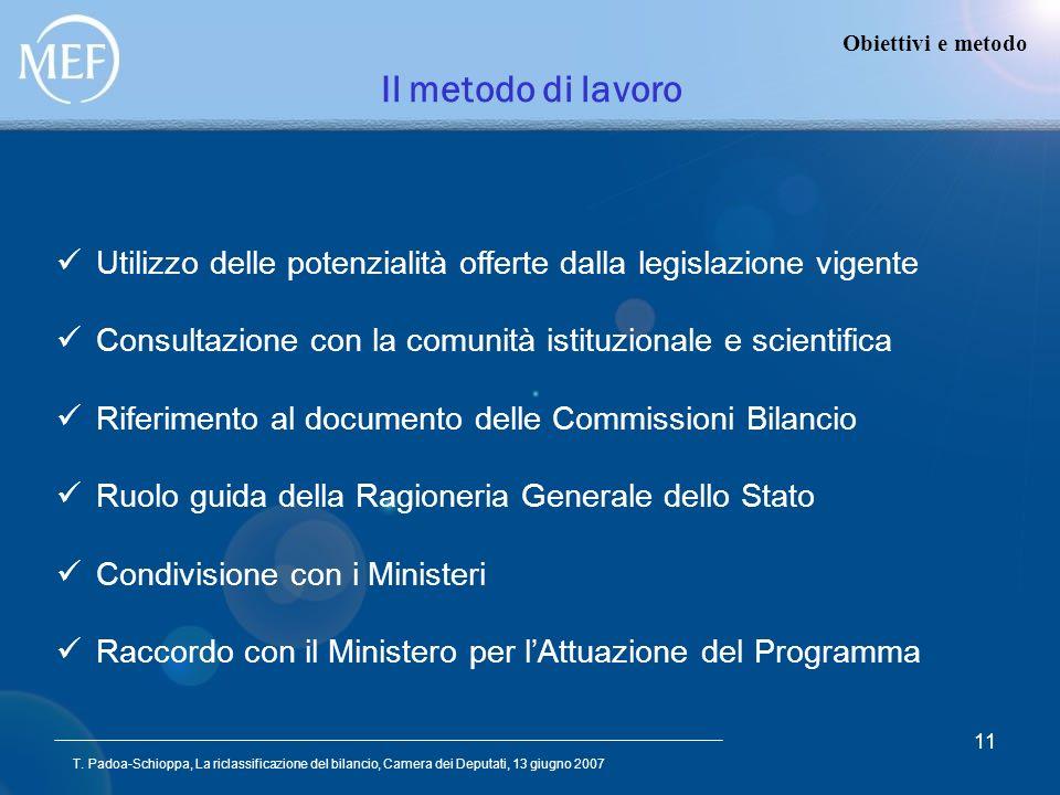 T. Padoa-Schioppa, La riclassificazione del bilancio, Camera dei Deputati, 13 giugno 2007 11 Il metodo di lavoro Obiettivi e metodo Utilizzo delle pot