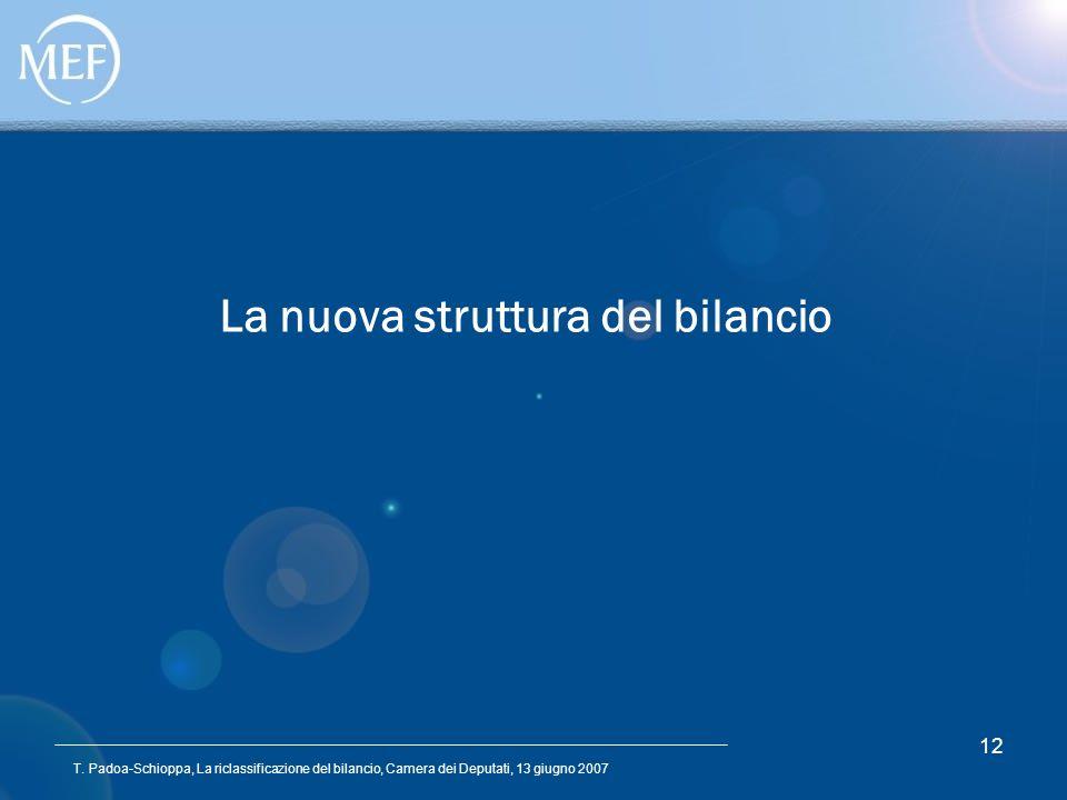 T. Padoa-Schioppa, La riclassificazione del bilancio, Camera dei Deputati, 13 giugno 2007 12 La nuova struttura del bilancio