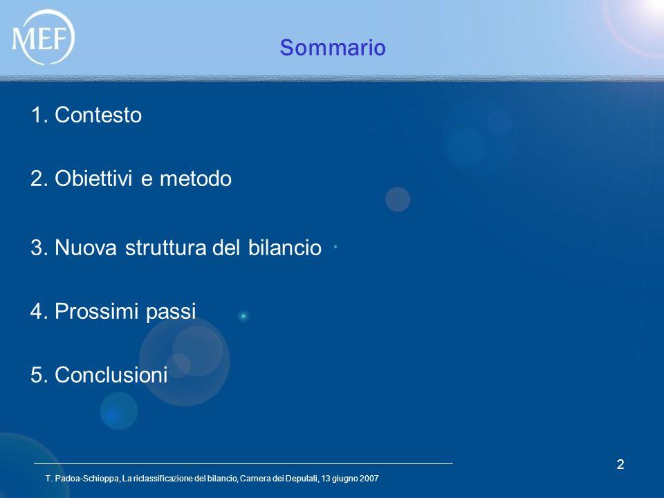 T. Padoa-Schioppa, La riclassificazione del bilancio, Camera dei Deputati, 13 giugno 2007 2 Sommario 1. Contesto 2. Obiettivi e metodo 3. Nuova strutt