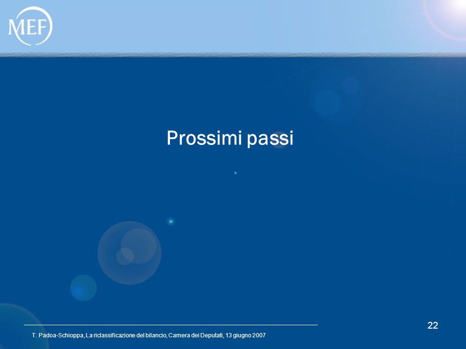 T. Padoa-Schioppa, La riclassificazione del bilancio, Camera dei Deputati, 13 giugno 2007 22 Prossimi passi