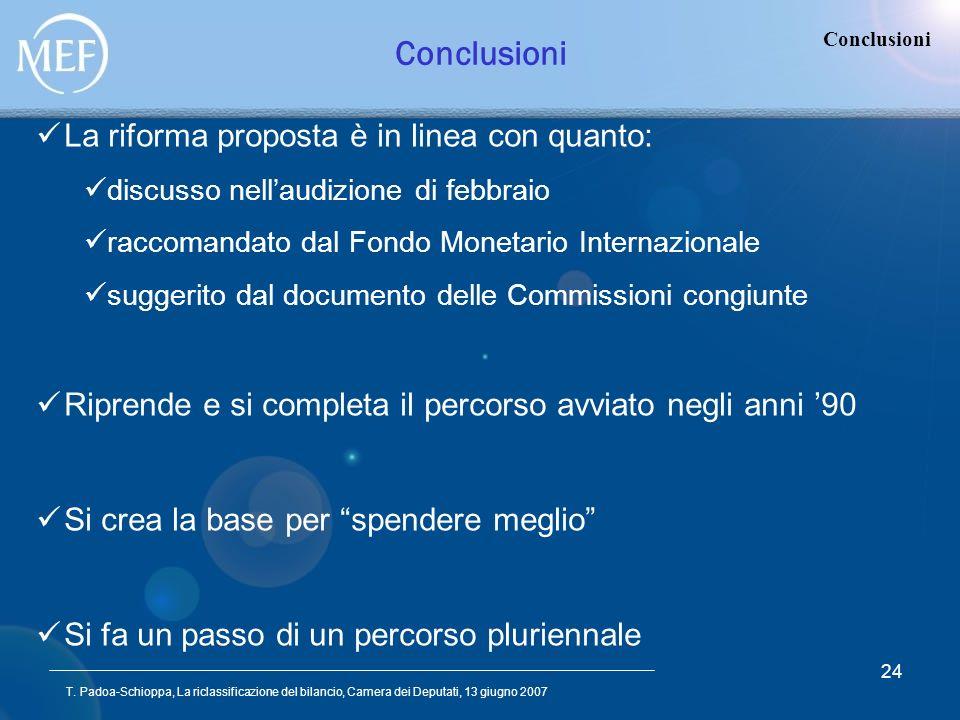 T. Padoa-Schioppa, La riclassificazione del bilancio, Camera dei Deputati, 13 giugno 2007 24 Conclusioni La riforma proposta è in linea con quanto: di