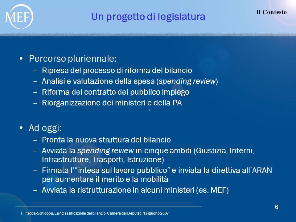 T. Padoa-Schioppa, La riclassificazione del bilancio, Camera dei Deputati, 13 giugno 2007 6 Un progetto di legislatura Percorso pluriennale: –Ripresa