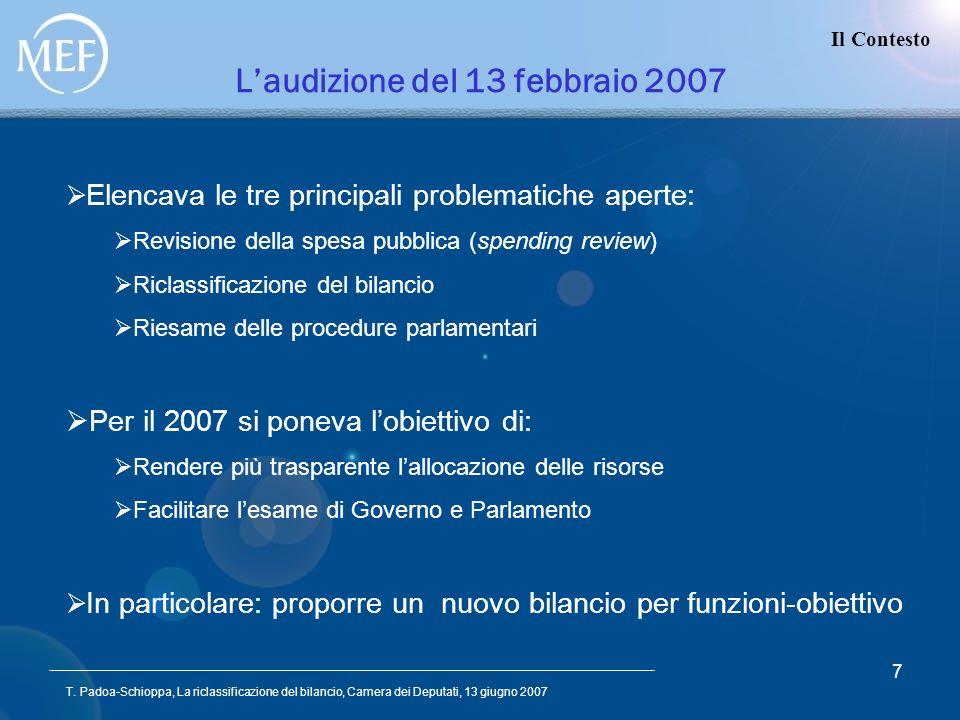 T. Padoa-Schioppa, La riclassificazione del bilancio, Camera dei Deputati, 13 giugno 2007 7 Laudizione del 13 febbraio 2007 Il Contesto Elencava le tr