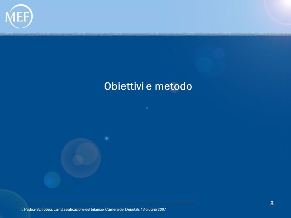 T. Padoa-Schioppa, La riclassificazione del bilancio, Camera dei Deputati, 13 giugno 2007 8 Obiettivi e metodo