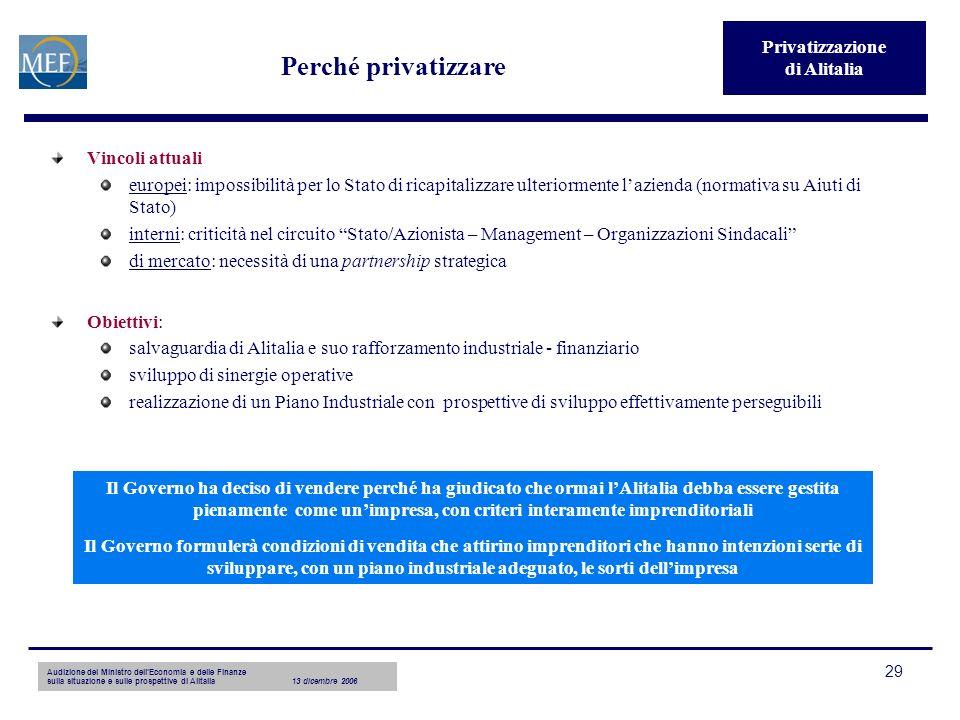 Audizione del Ministro dellEconomia e delle Finanze sulla situazione e sulle prospettive di Alitalia13 dicembre 2006 29 Perché privatizzare Vincoli at