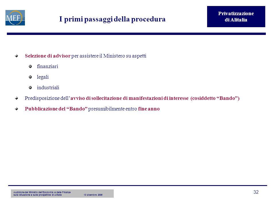 Audizione del Ministro dellEconomia e delle Finanze sulla situazione e sulle prospettive di Alitalia13 dicembre 2006 32 I primi passaggi della procedu