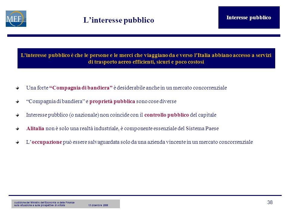 Audizione del Ministro dellEconomia e delle Finanze sulla situazione e sulle prospettive di Alitalia13 dicembre 2006 38 Linteresse pubblico Una forte
