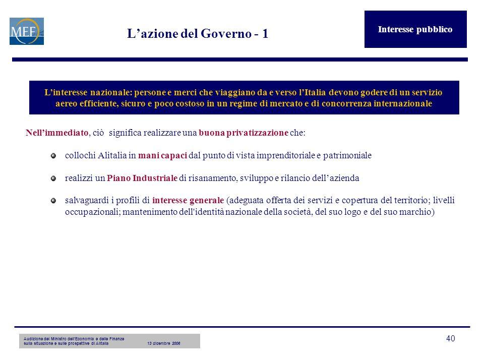 Audizione del Ministro dellEconomia e delle Finanze sulla situazione e sulle prospettive di Alitalia13 dicembre 2006 40 Lazione del Governo - 1 Nellim