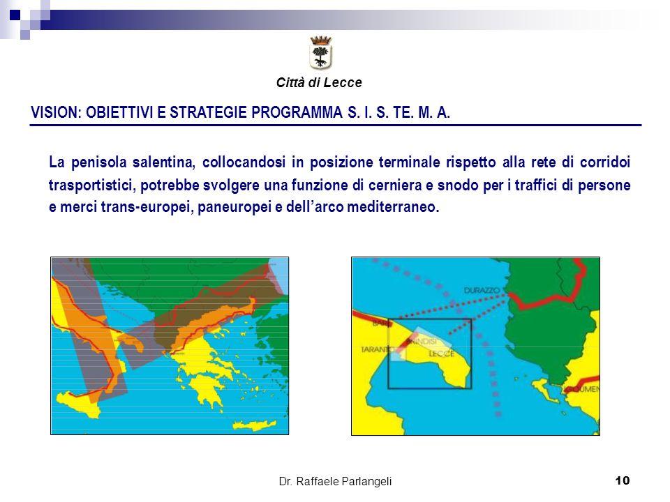 Dr. Raffaele Parlangeli10 VISION: OBIETTIVI E STRATEGIE PROGRAMMA S. I. S. TE. M. A. La penisola salentina, collocandosi in posizione terminale rispet