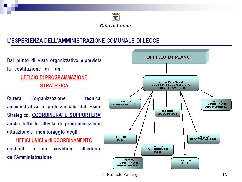 Dr. Raffaele Parlangeli15 LESPERIENZA DELLAMMINISTRAZIONE COMUNALE DI LECCE Dal punto di vista organizzativo è prevista la costituzione di un UFFICIO