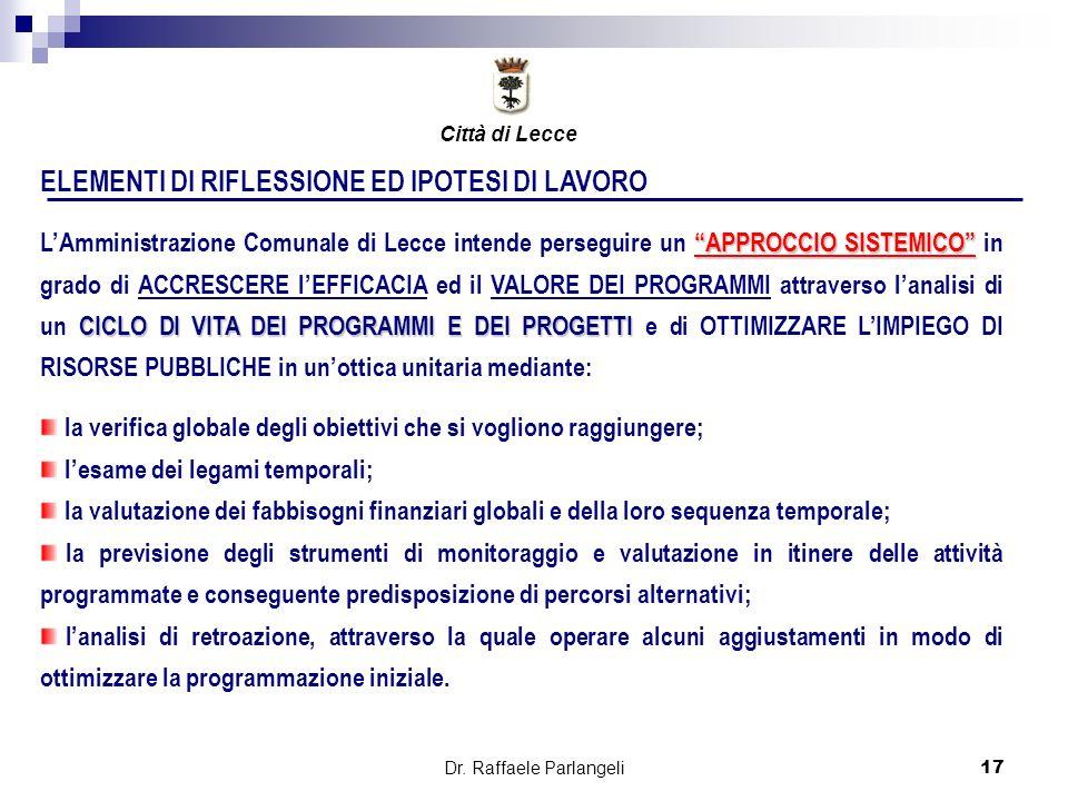 Dr. Raffaele Parlangeli17 ELEMENTI DI RIFLESSIONE ED IPOTESI DI LAVORO APPROCCIO SISTEMICO CICLO DI VITA DEI PROGRAMMI E DEI PROGETTI LAmministrazione
