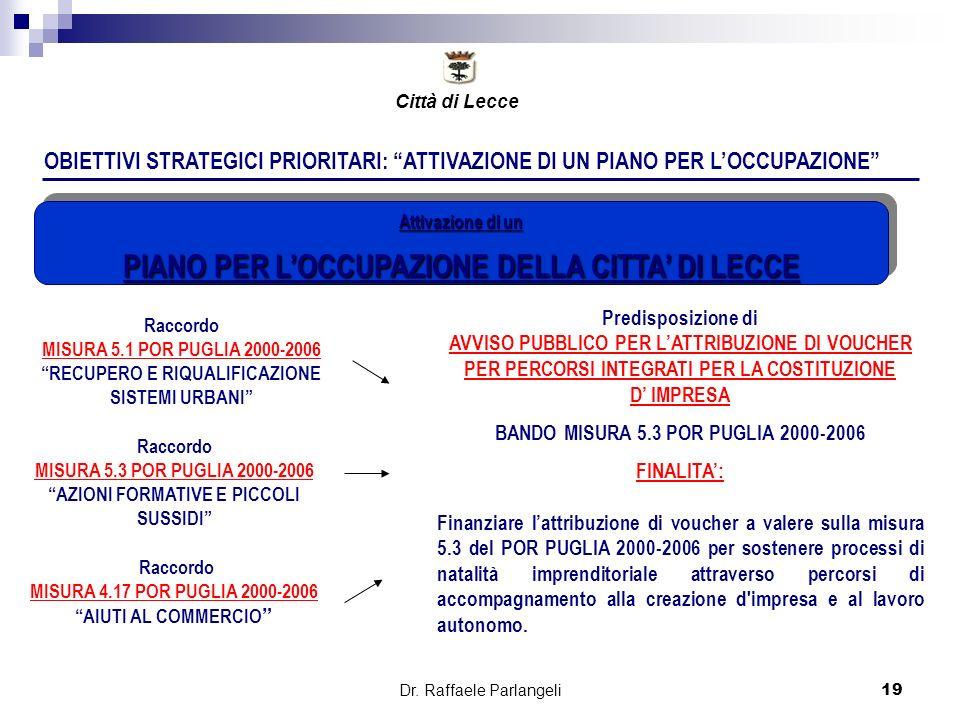 Dr. Raffaele Parlangeli19 OBIETTIVI STRATEGICI PRIORITARI: ATTIVAZIONE DI UN PIANO PER LOCCUPAZIONE Predisposizione di AVVISO PUBBLICO PER LATTRIBUZIO