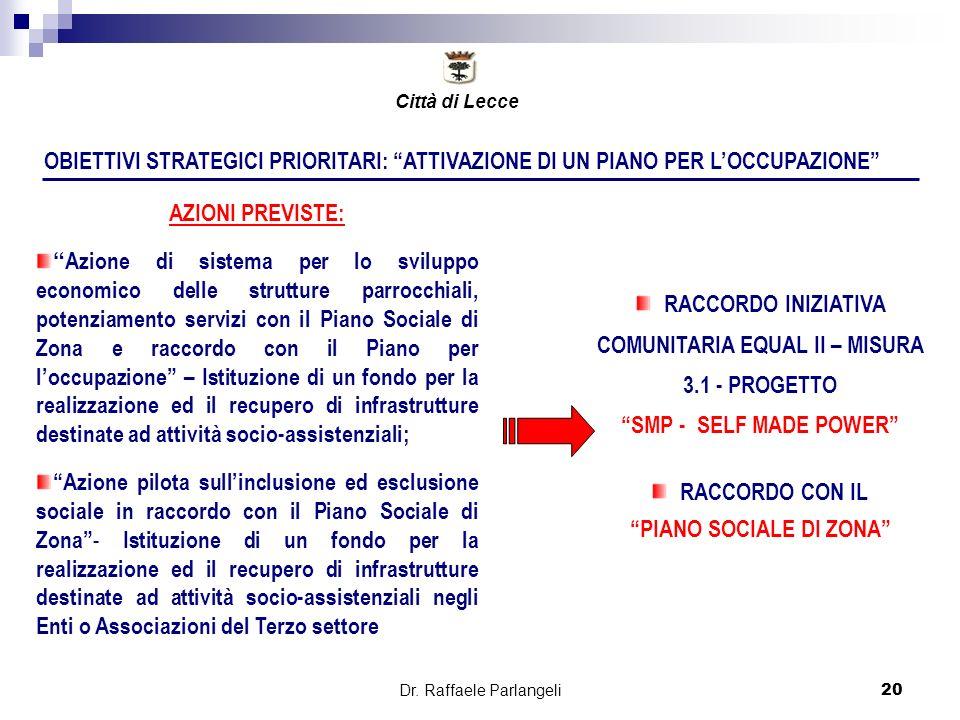 Dr. Raffaele Parlangeli20 OBIETTIVI STRATEGICI PRIORITARI: ATTIVAZIONE DI UN PIANO PER LOCCUPAZIONE AZIONI PREVISTE: Azione di sistema per lo sviluppo