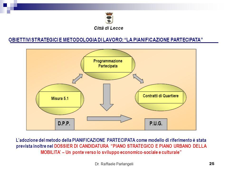Dr. Raffaele Parlangeli25 OBIETTIVI STRATEGICI E METODOLOGIA DI LAVORO: LA PIANIFICAZIONE PARTECIPATA Ladozione del metodo della PIANIFICAZIONE PARTEC