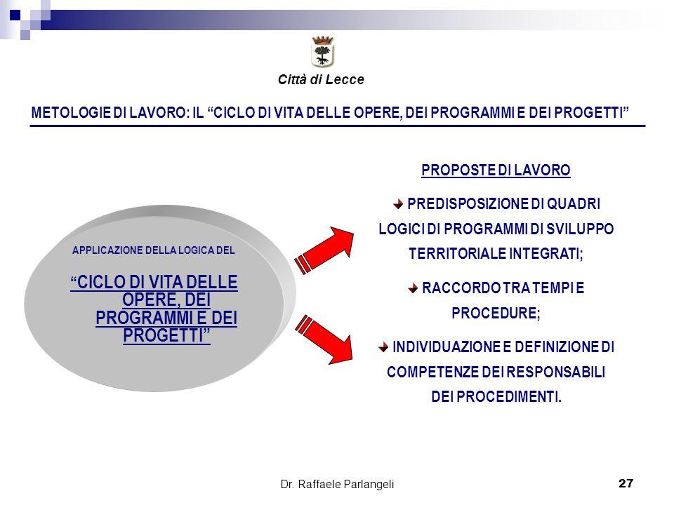 Dr. Raffaele Parlangeli27 METOLOGIE DI LAVORO: IL CICLO DI VITA DELLE OPERE, DEI PROGRAMMI E DEI PROGETTI APPLICAZIONE DELLA LOGICA DEL CICLO DI VITA