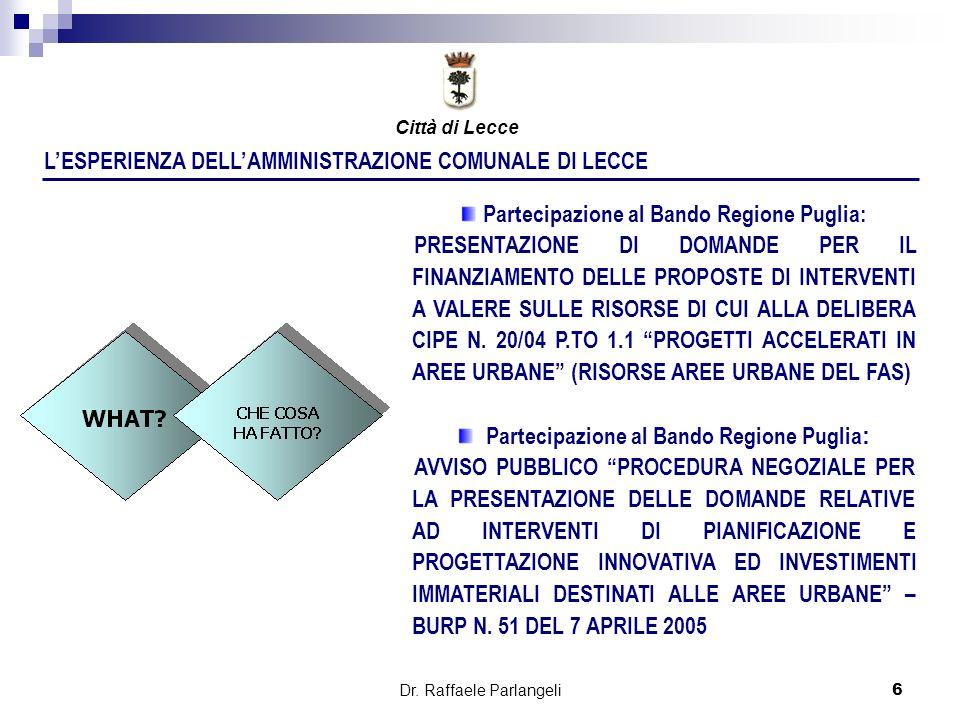 Dr. Raffaele Parlangeli6 LESPERIENZA DELLAMMINISTRAZIONE COMUNALE DI LECCE Partecipazione al Bando Regione Puglia: PRESENTAZIONE DI DOMANDE PER IL FIN
