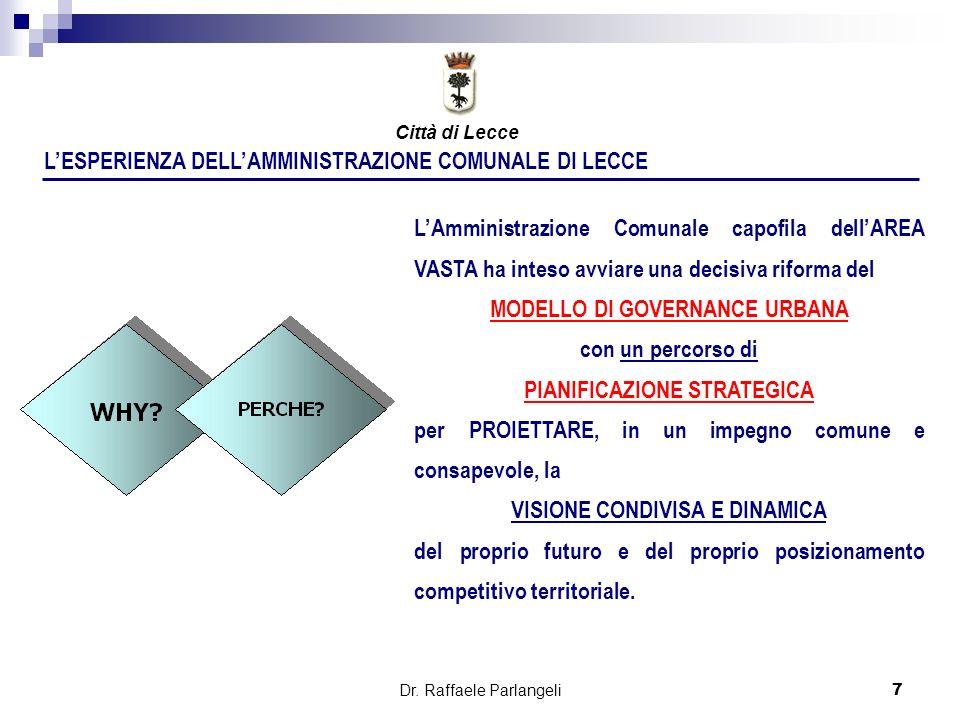 Dr. Raffaele Parlangeli7 LESPERIENZA DELLAMMINISTRAZIONE COMUNALE DI LECCE LAmministrazione Comunale capofila dellAREA VASTA ha inteso avviare una dec