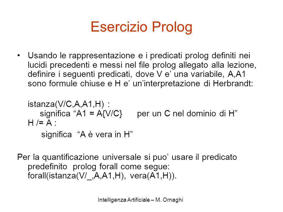 Intelligenza Artificiale – M. Ornaghi Esercizio Prolog Usando le rappresentazione e i predicati prolog definiti nei lucidi precedenti e messi nel file