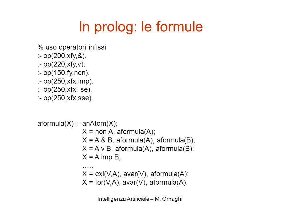 Intelligenza Artificiale – M. Ornaghi In prolog: le formule % uso operatori infissi :- op(200,xfy,&). :- op(220,xfy,v). :- op(150,fy,non). :- op(250,x