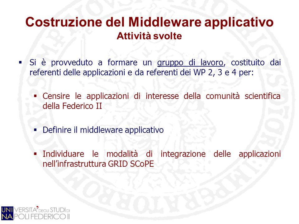 Costruzione del Middleware applicativo Attività svolte Si è provveduto a formare un gruppo di lavoro, costituito dai referenti delle applicazioni e da