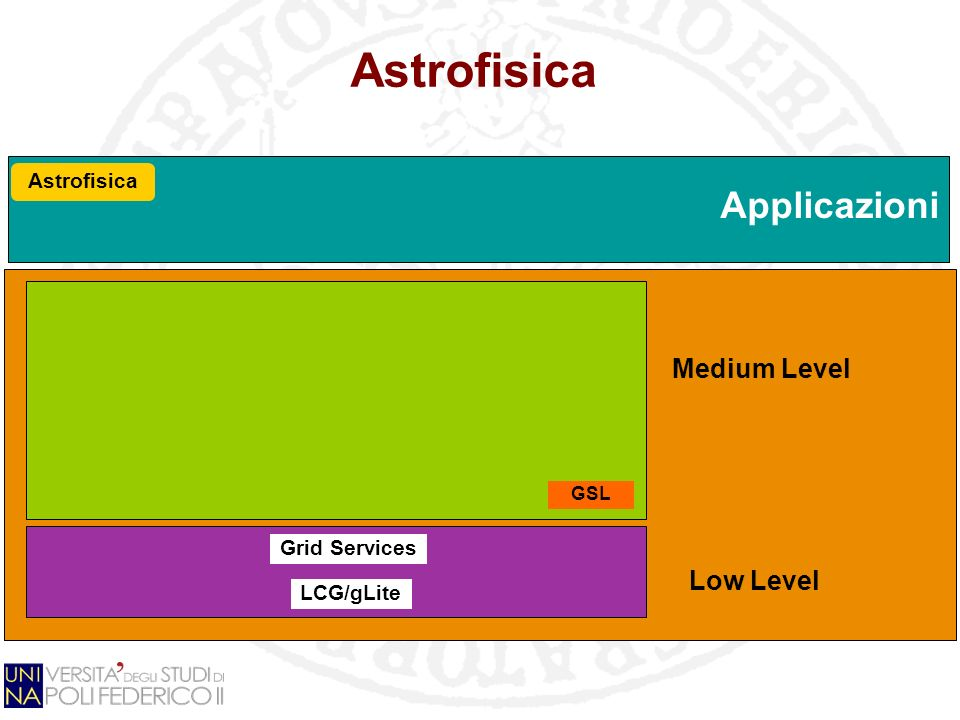 Astrofisica Grid Services LCG/gLite GSL Astrofisica Low Level Medium Level