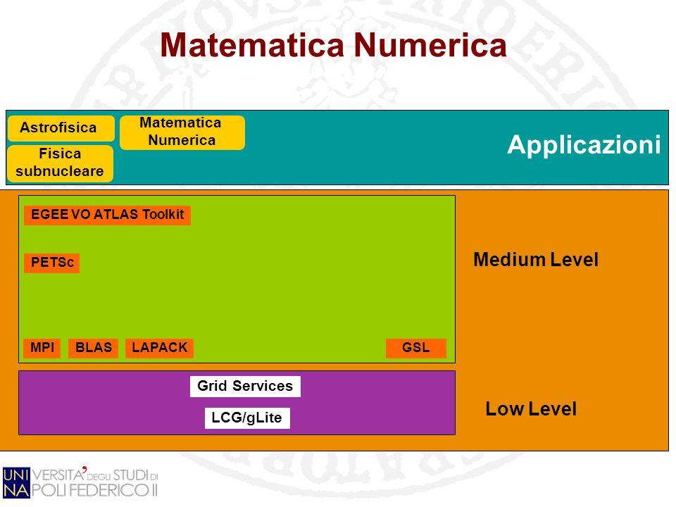 Applicazioni Matematica Numerica Grid Services LCG/gLite GSL Fisica subnucleare EGEE VO ATLAS Toolkit MPIBLASLAPACK PETSc Matematica Numerica Low Level Medium Level Astrofisica